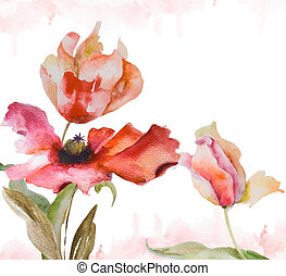 Watercolor background with tulips and poppy flowers