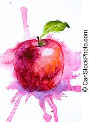 estilizado, acuarela, manzana, Ilustración