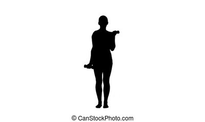 Silhouette of a woman lifting hand weights