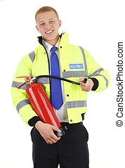 security guard - A security guard with a fire extinguisher,...
