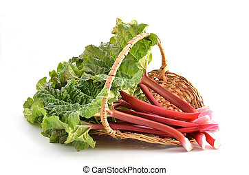 Rhubarb - Fresh picked Rhubarb in wicker basket on white...