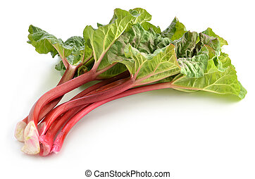 Rhubarb - Fresh picked Rhubarb on white background