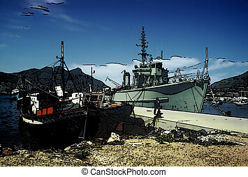 Tranquil Pier with Warship and Civilian Boats - Tranquil...