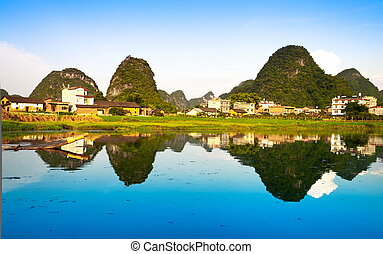 Li river village view - Chinese village view relecting...