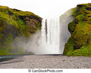 Skogafoss iceland waterfall view from bottom the waterfall