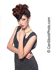 Pin Up Style Girl in Studio