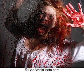 mujer, horror, situación, con, sangriento, cara