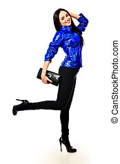 deep blue - Fashion model in a coat posing at the studio....