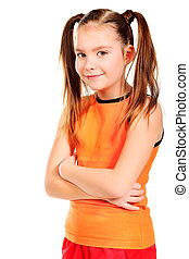 two tails - Portrait of a 8 year girl. Isolated over white...