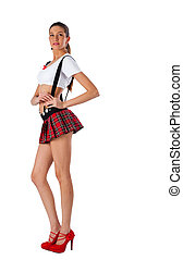 Beautiful girl in mini-skirt - Young pretty woman in white...