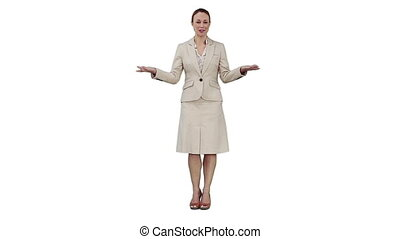 A businesswoman is giving a talk against a white background