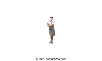 A businesswoman using money as a fan