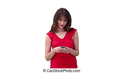 Woman reading a text message before looking to her side