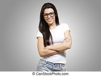 happy young woman - pretty young woman with glasses crossing...