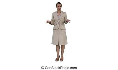 Smiling businesswoman is talking - A smiling businesswoman...