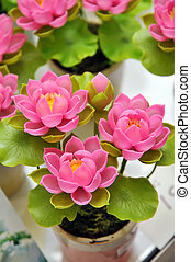 Artificial flowers - Beautiful bouquet of artificial lotus...
