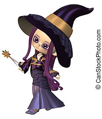 Cute Toon Female Wizard - Cute toon female elf wizard in...