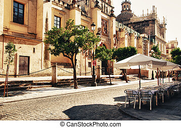 City Seville, cathedral - Outdoor cafe at summer in Seville