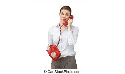 Woman talking on the red telephone
