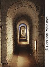 Underground Corridor In Fortress - An underground corridor...