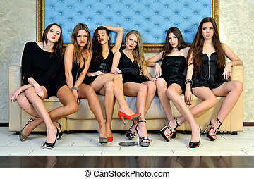 Six beautiful sexy models in the hotel.