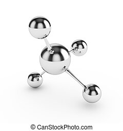 Glossy molecules - 3D rendered glossy molecules on white...