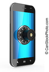 Phone with combination Lock - 3d render of touchscreen phone...