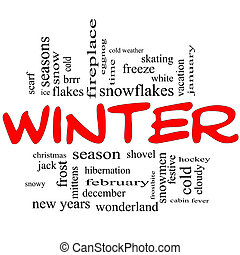 Winter Word Cloud Concept in Red Caps with great terms such...