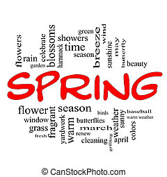 Spring Word Cloud Concept in Red Caps with great terms such...
