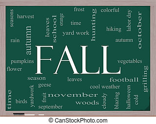 Fall or Autumn Word Cloud Concept on a Blackboard - Fall or...