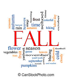 Fall or Autumn Word Cloud Concept with great terms such as...