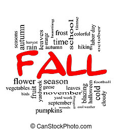 Fall or Autumn Word Cloud Concept in Red Caps
