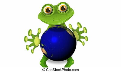 frog and globe - video, merry green frog with globe
