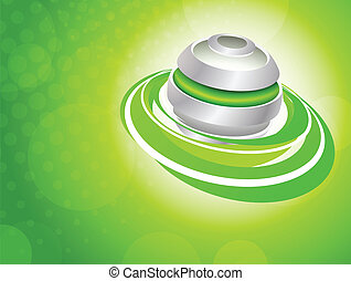 Background with spheres - Bright green background with...