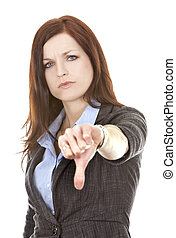 thumbs down from woman - beautiful brunette showing sign...