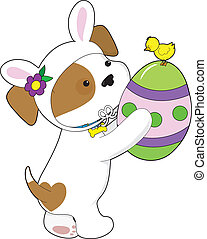 Cute Puppy Easter Egg - A cute puppy dressed in an Easter...