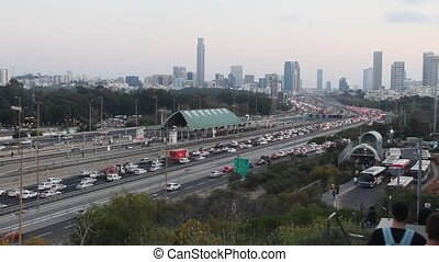 Ayalon Highway. Traffic jam - Tel Aviv at Sunset . Traffic...