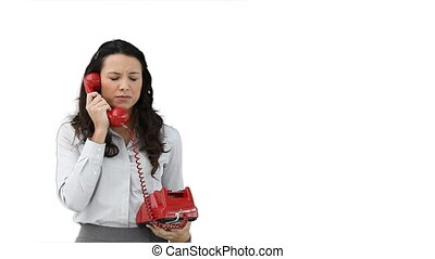 Woman talking to someone on the telephone