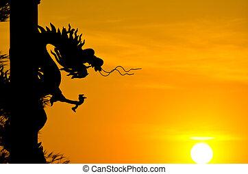 dragão, estátua, silueta