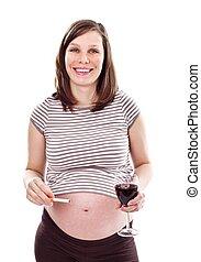 descuidado, embarazada, mujer