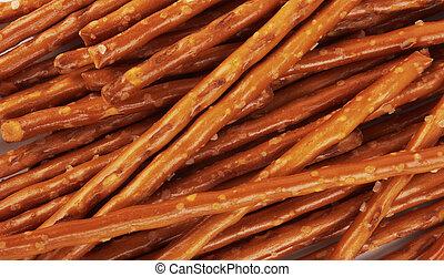 pile of pretzel sticks - closeup of a pile of pretzel sticks