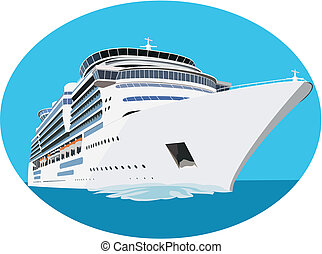 Cruise ship - White liner sailing in the ocean