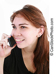 Young business woman talking on the phone - isolated over a white background