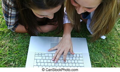 Smiling friends lying on the grass while using a laptop