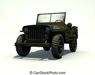 3D Isolated Willys Jeep - Front View of a 3D Rendered Willys...