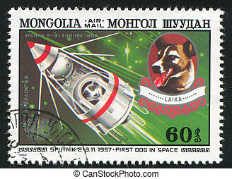 Sputnik 2 and Laika - MONGOLIA - CIRCA 1982: stamp printed...