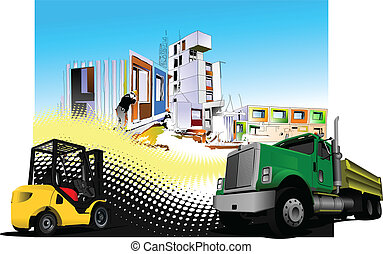 Building site with lorry truck and forklift images Vector...