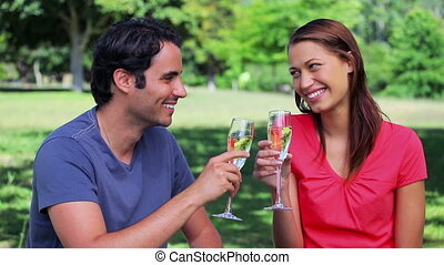 Happy couple clinking their flutes of champagne in the...