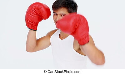 Man boxing with red gloves while looking at camera