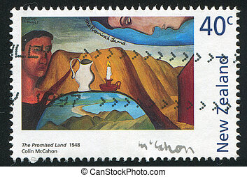 The Promised Land - NEW ZEALAND - CIRCA 1997: stamp printed...